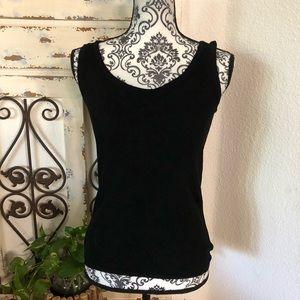 Ellen Tracey black knit tank top